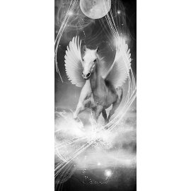 Fototapeta na dveře Black and white running pegasus