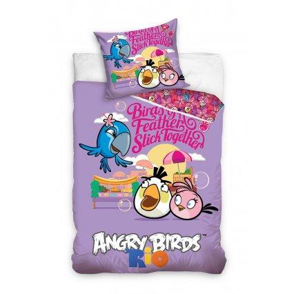 Dětské povlečení Angry Birds - Rio fialové