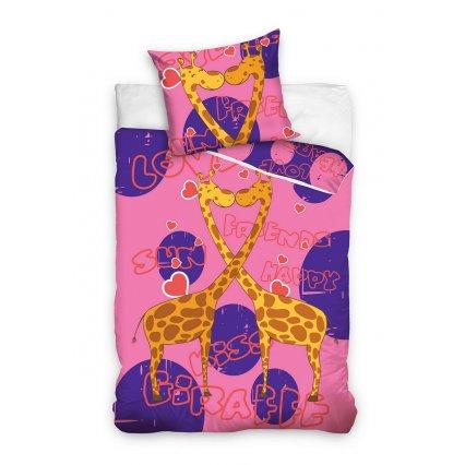 Dětské povlečení Animal Planet - Růžové žirafy