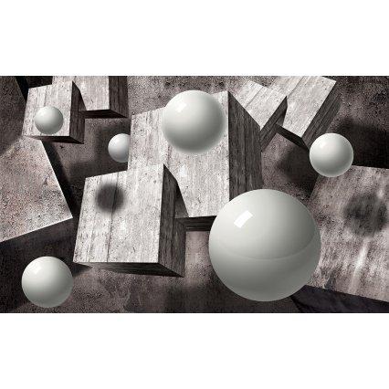 3D Fototapeta Koule a dřevo