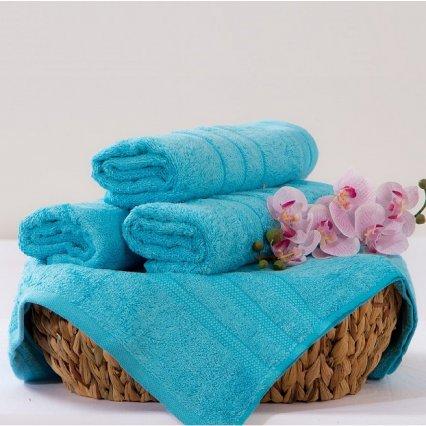 Bambusový ručník Alina - azurová 50 x 90 cm