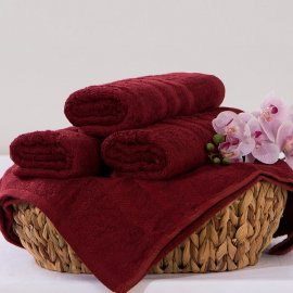 Bambusový ručník Alina - vínová 50 x 90 cm